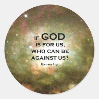 Romans 8:31 round sticker