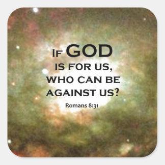 Romans 8:31 square sticker