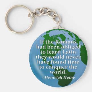 Romans learn Latin Quote. Globe Keychain
