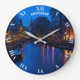 Romantic Amsterdam Canal At Night With Boats Large Clock