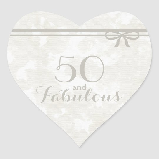 "Romantic and Elegant Grey ""50 and Fabulous"" Heart Sticker"
