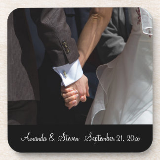 Romantic and Elegant Wedding Couple Holding Hands Beverage Coasters