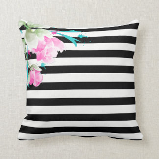 Romantic and Girly Pink Roses and Stripes Pillow