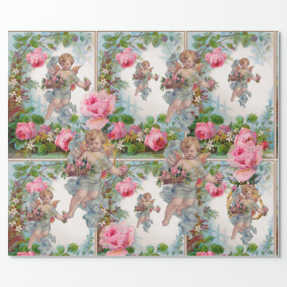 ROMANTIC ANGEL GATHERING PINK ROSES AND FLOWERS