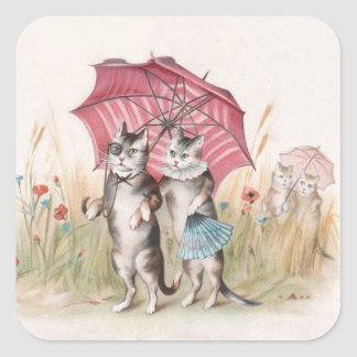 Romantic Anthropomorphic Cats in Wildflower Garden Square Sticker