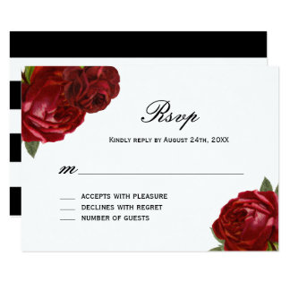 "Romantic Antique Red Roses with Stripes RSVP Cards 3.5"" X 5"" Invitation Card"