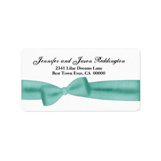 Romantic Aqua Blue Bow Label