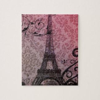 romantic autumn pink damask Paris Eiffel Tower Puzzle