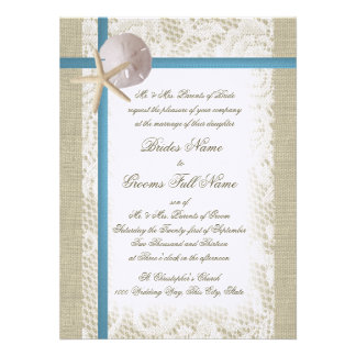 Romantic Beach and Lace Blue Wedding Personalized Invites