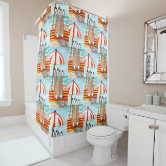 Romantic Beach Bunny Rabbits Design Shower Curtain