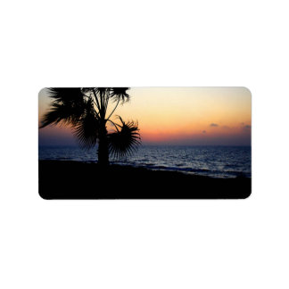 Romantic beach scene. label