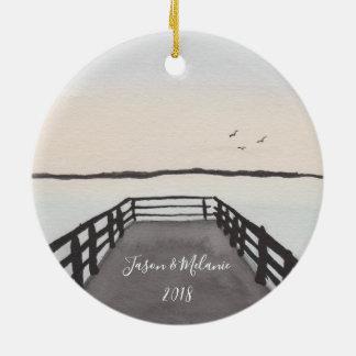 Romantic Beach Sunset Ceramic Ornament