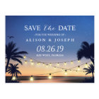 Romantic Beach Sunset String Lights Save the Date Postcard