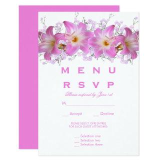 Romantic Belladonna Lilies Wedding Menu RSVP Card