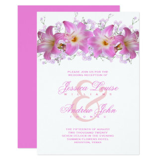 Romantic Belladonna Lilies Wedding Reception Card