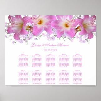 Romantic Belladonna Lilies Wedding Seating Chart