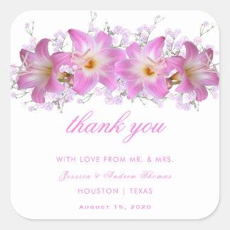 Romantic Belladonna Lilies Wedding Thank You Square Sticker