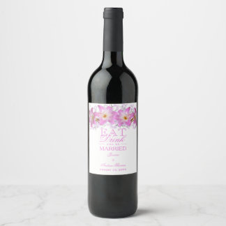 Romantic Belladonna Lilies Wedding Wine Label