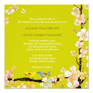 Romantic Bird Theme Baby Green Wedding Card