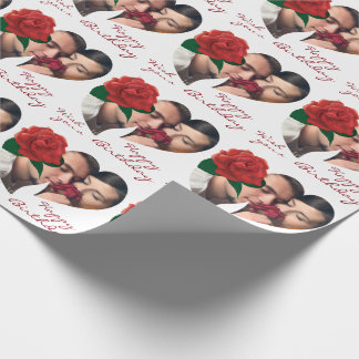 Romantic Birthday red rose photo Wrapping Paper