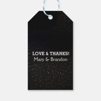 Romantic Black Starry Universe Nebula Wedding Gift Tags