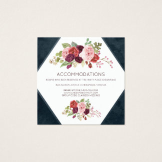 Romantic Blooms Wedding Hotel Accommodation Cards