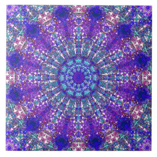Romantic blue-colored mandala ornament arabesque tile