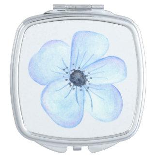 Romantic Blue Flower Watercolor Mirror For Makeup