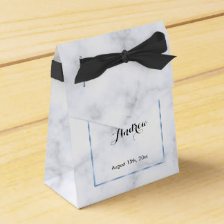 Romantic Blue Marble Wedding Favor Box