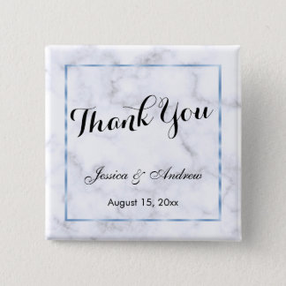 Romantic Blue Marble Wedding Thank You 2 Inch Square Button