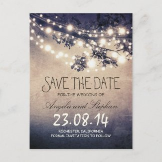 romantic blue night lights rustic save the date announcement postcard