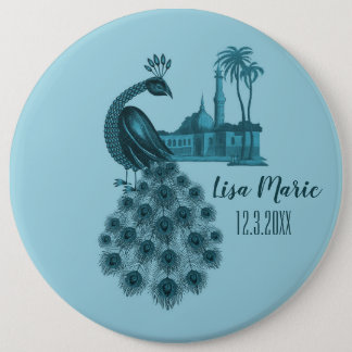 Romantic Blue Peacock 6 Inch Round Button