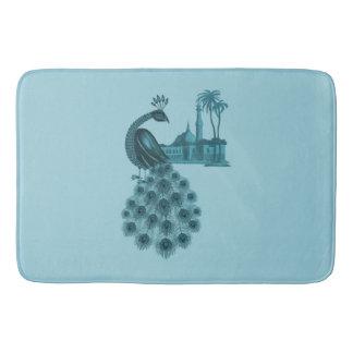 Romantic Blue Peacock Bath Mat