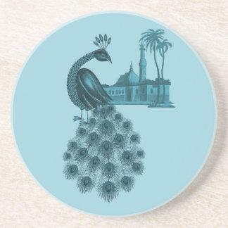 Romantic Blue Peacock Coaster