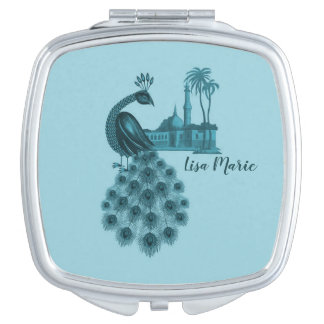 Romantic Blue Peacock Compact Mirrors