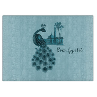 Romantic Blue Peacock Cutting Board