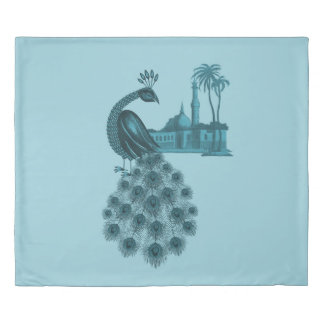 Romantic Blue Peacock Duvet Cover