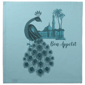 Romantic Blue Peacock Napkin