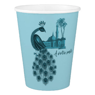 Romantic Blue Peacock Paper Cup