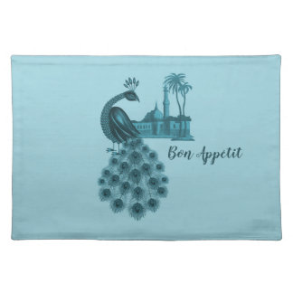 Romantic Blue Peacock Placemat