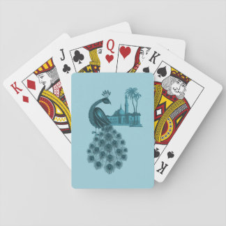 Romantic Blue Peacock Playing Cards