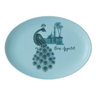Romantic Blue Peacock Porcelain Serving Platter