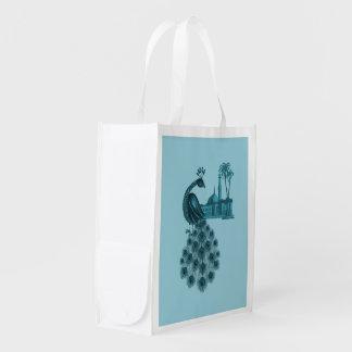 Romantic Blue Peacock Reusable Grocery Bag