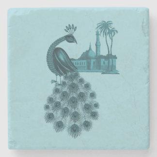 Romantic Blue Peacock Stone Coaster