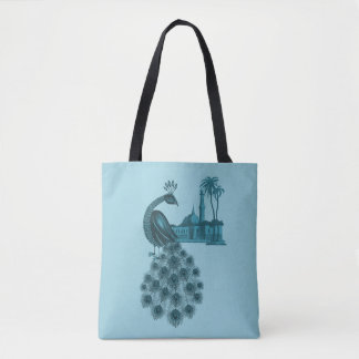 Romantic Blue Peacock Tote Bag