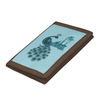 Romantic Blue Peacock Trifold Wallets