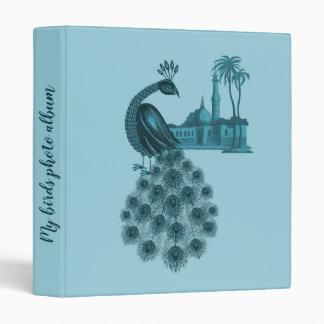 Romantic Blue Peacock Vinyl Binder