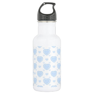 Romantic Blue & White Hearts 532 Ml Water Bottle