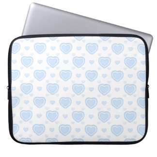 Romantic Blue & White Hearts Laptop Sleeve