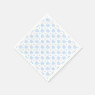 Romantic Blue & White Hearts Paper Napkin